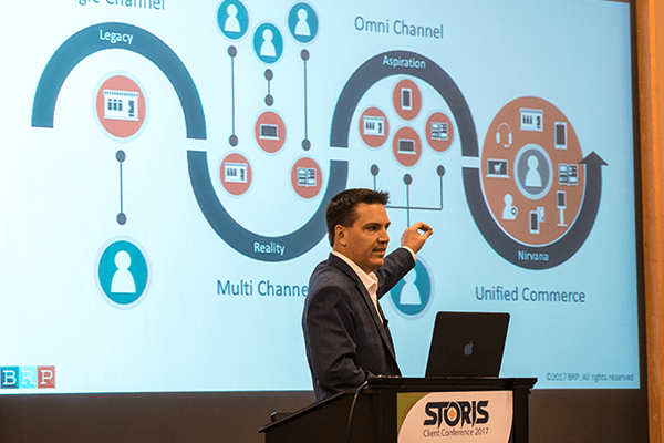 Adam Kelly from BRP Delivering Keynote at STORIS Client Conference