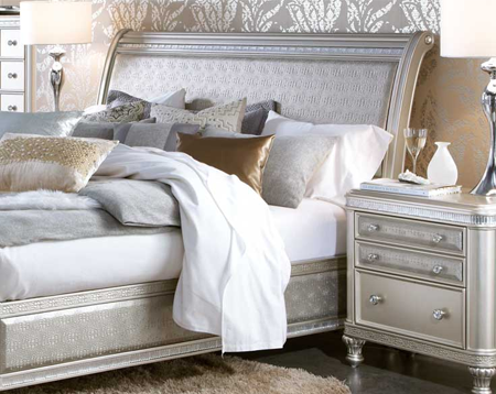 Elegant silver and gold bedroom furniture