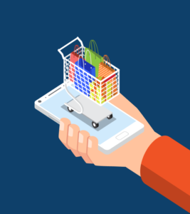 Illustration of a shopping card on an iPhone