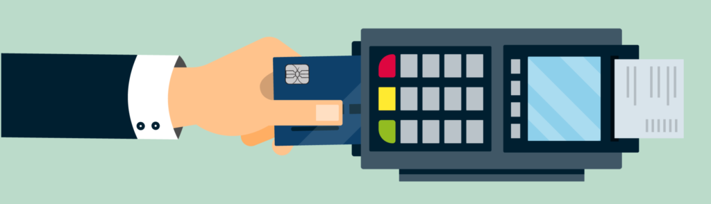 Illustration of a person scanning a credit card