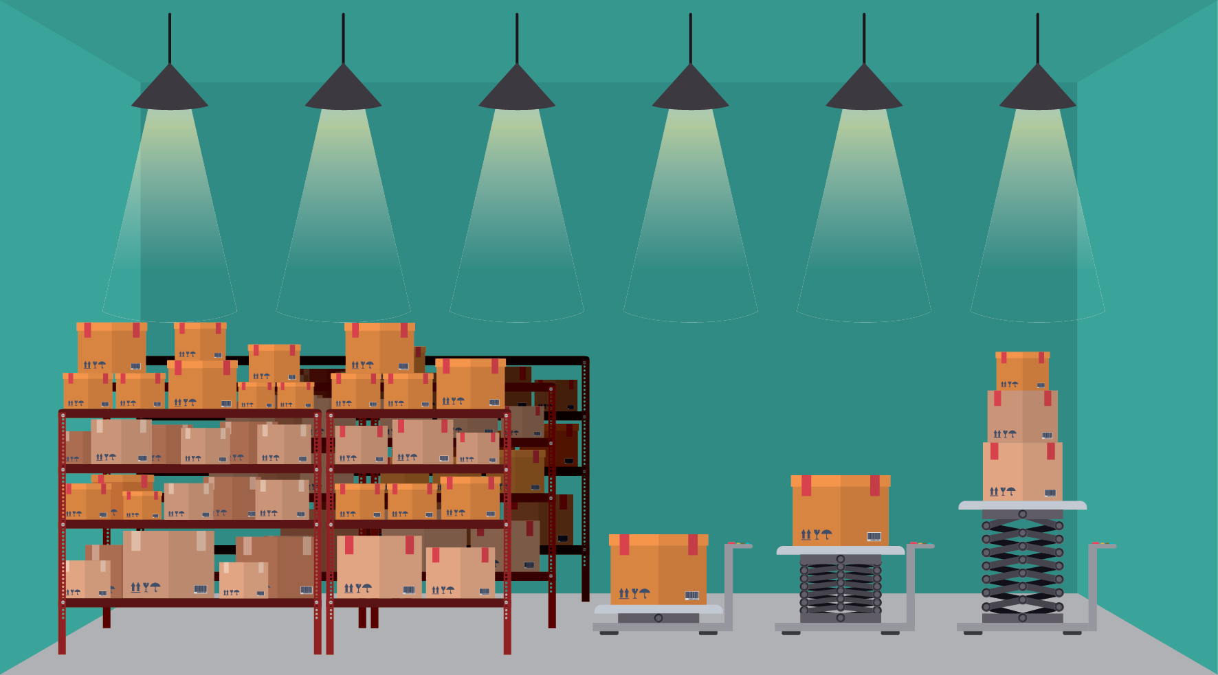 Illustration of boxes in a warehouse
