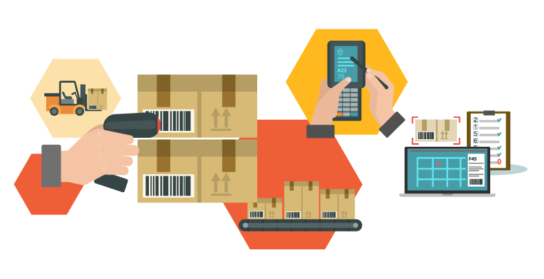 Illustration of scanning items for inventory